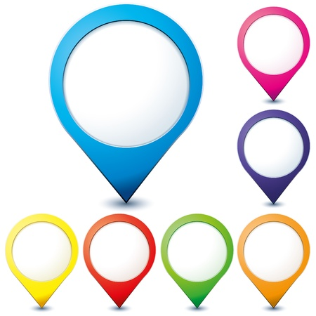 location: Set of colorful map pionter icons for any needs over white, vector illustration Illustration