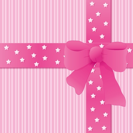 Card for greeting or congratulation with the pink bow. Vector