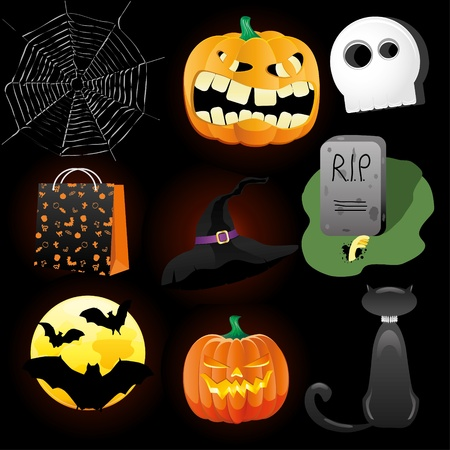 Halloween Icons A collection of nine fun Halloween icons. Grouped for easy editing Vector