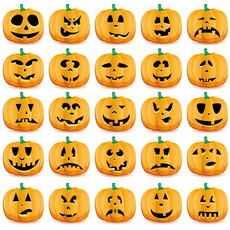 Big set of halloween pumpkins with Jack O`Lantern face,