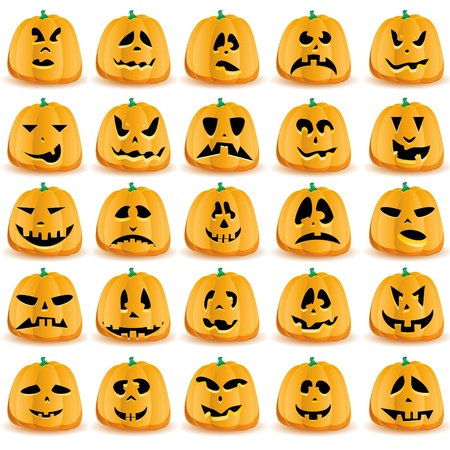 green lantern: Set of pumpkins isolated on white Illustration