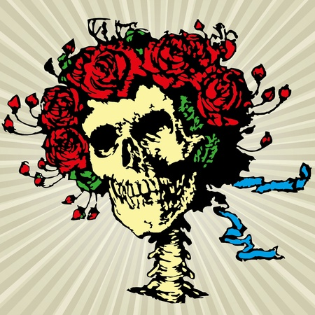 skull and crown: Skull in roses crown illustration
