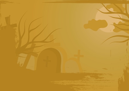 Haloween background with cemetery Stock Vector - 10864287