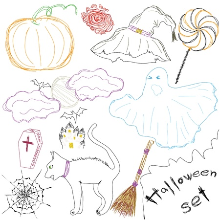 Halloween Icons A collection of fun Halloween icons. Sketch drawing. Vector