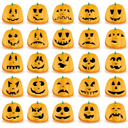 Halloween pumpkins with mouths, eyes and noses for Jack O`Lantern face Vector