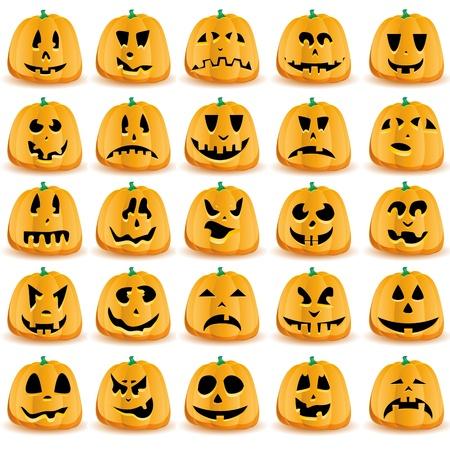 Halloween-Kürbisse mit Mund, Augen und Nasen für Jack O `Lantern Gesicht