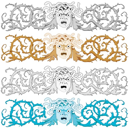 celtic mythology: Head of Medusa Gorgon with snake hair and curled prickly bush as a headline or banner.