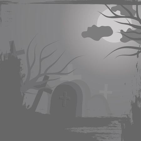 necropolis: Haloween background with graveyard Illustration