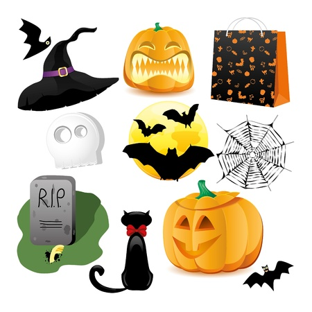 Halloween Icons A collection of nine fun Halloween icons. Grouped for easy editing. Vectores