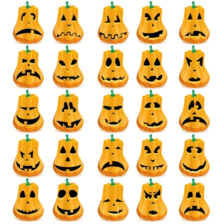 Big set of 15 Halloween pumpkins with different mouths, eyes and noses for Jack O`Lantern face. Vector