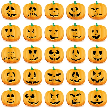 Halloween pumpkins as Jack O`Lantern. Vector