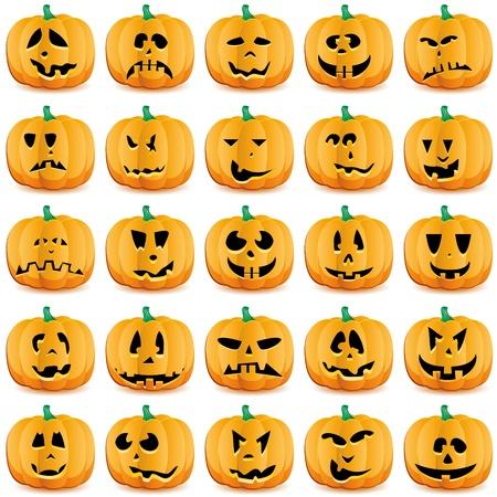 pumpkin face: Halloween pumpkins as Jack O`Lantern.