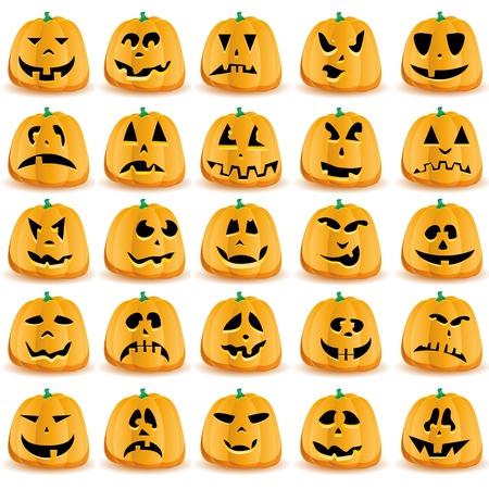 Set of 25 halloween pumpkins with Jack O`Lantern face. Vectores