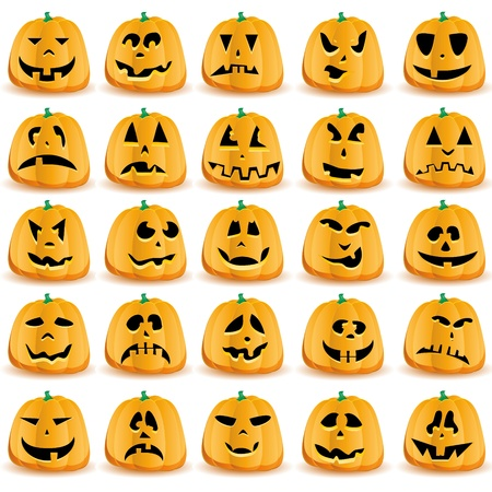 Set of 25 halloween pumpkins with Jack O`Lantern face. Иллюстрация
