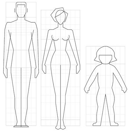 outline drawing: Circuito uomo disegno, donna e bambino corpo, illustrazione vettoriale. Vettoriali