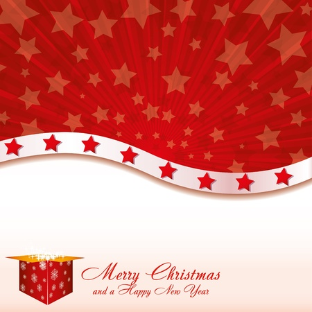 Red Christmas card with stars and starry gift box, vector illustration Vector