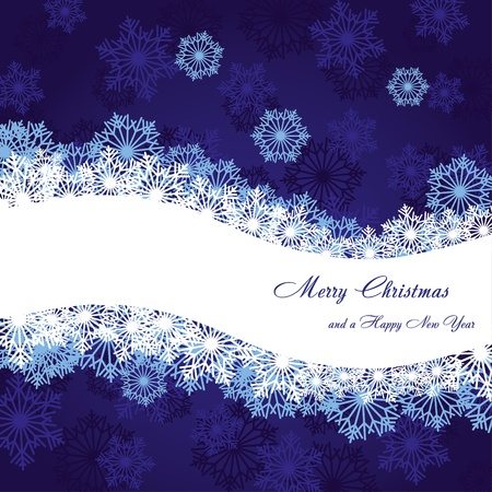 headliner: Blue christmas background with wave and snowflakes, vector illustration