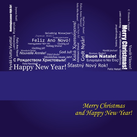 Blue christmas background with wish of Merry Christmas and Happy New Year on different languages, vector illustration Vector