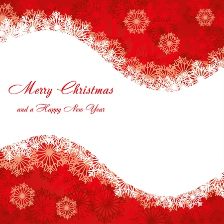 Red Christmas card with snowflakes, vector illustration Vector