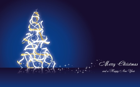 Christmas greetings card with fir tree made from golden ribbons on blue background, vector illustration eps 10.0 Vector
