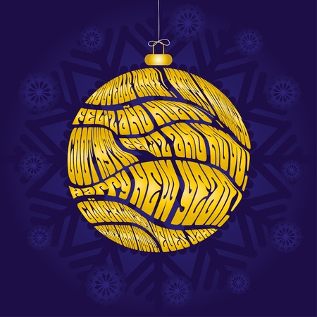 Christmas card with bauble made from greetings in different languages on blue snowflaked background, vector illustration Vector