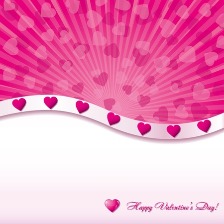 Pink valentine background with hearts, vector illustration Vector