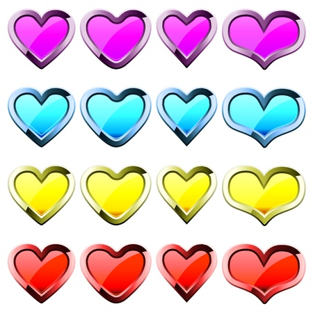 Set of colored heart shape icons Stock Vector - 13334094