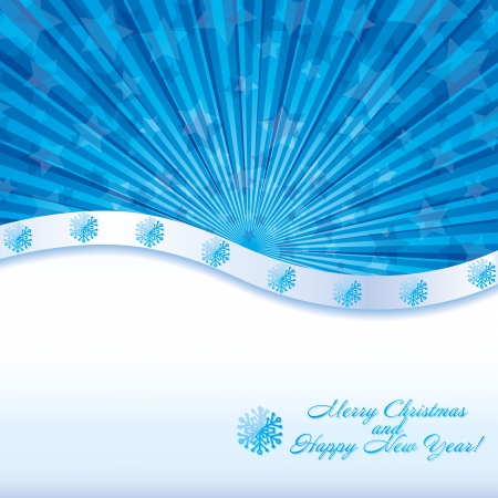 headliner: Blue christmas background with wish of Merry Christmas and Happy New Year