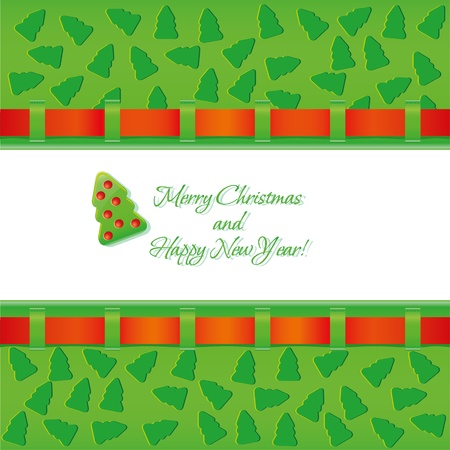 new year s card: Christmas background with red ribbon and fir tree