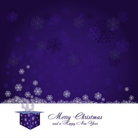Blue christmas background with gift box and snowflakes, vector illustration Vector