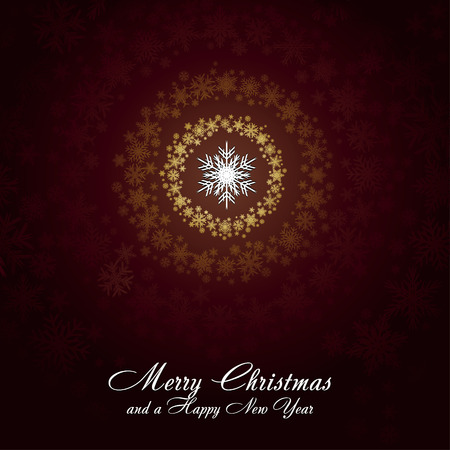 Brown christmas card with golden snowflakes, very beautiful greetings card, vector illustration Vector