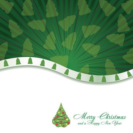 Green Christmas card with Christmas Tree, vector illustration Vector