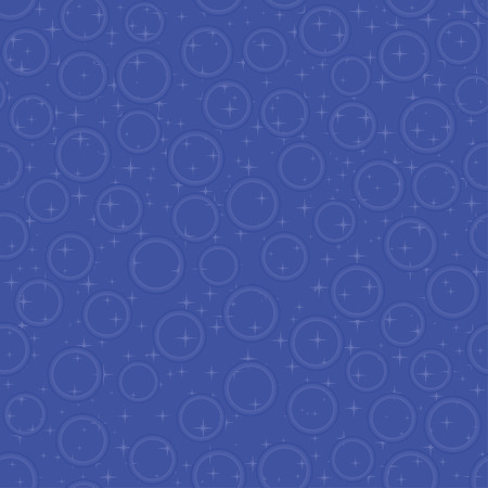 frantic: Blue seamless pattern with bubbles and stars, vector illustration