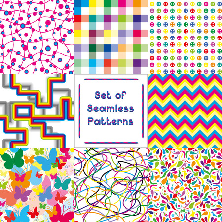 Set of abstract seamless backgrounds with bright pattern,vector illustration Vector