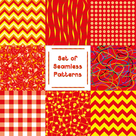 Set of abstract seamless backgrounds with red pattern,vector illustration Vector