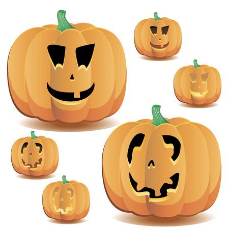 Halloween pumpkins set 10, vector illustration Vetores