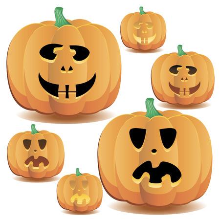 Halloween pumpkins set 14, vector illustration   イラスト・ベクター素材