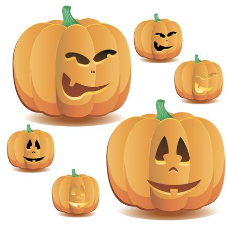 Halloween pumpkins set 7, vector illustration Vetores