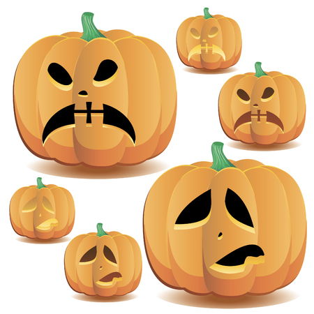 Halloween pumpkins set 13, vector illustration