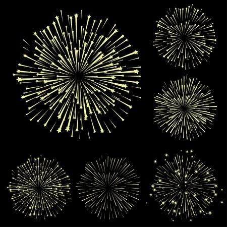 Set van vuurwerk, deel 5, gele schaduw geïsoleerd op zwarte achtergrond, vectorillustratie Vector Illustratie