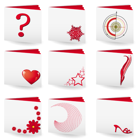 Set of folders with white covers and red pages with different signs on cover for many use, vector illustration