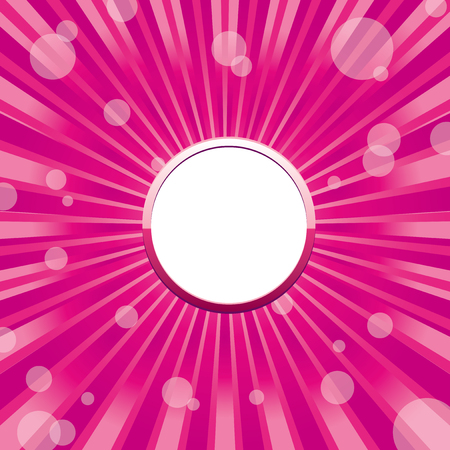 Pink round glitter frame with sunrays, sparkles and sunbeams and white blank place for text, vector illustration