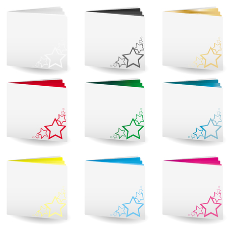 Set of file folders with bright colored pages and cut out stars on cover
