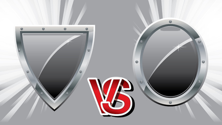 16:9 background with two team steel shields for versus fight battle, vector illustration, Versus vs background. Guild defender signs for Medieval games.