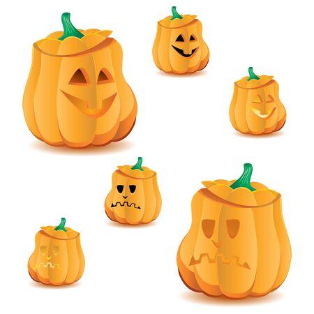 Set of halloween pumpkins with variations of illumination, Jack OLantern, vector illustration. Part 16, more in my portfolio  イラスト・ベクター素材