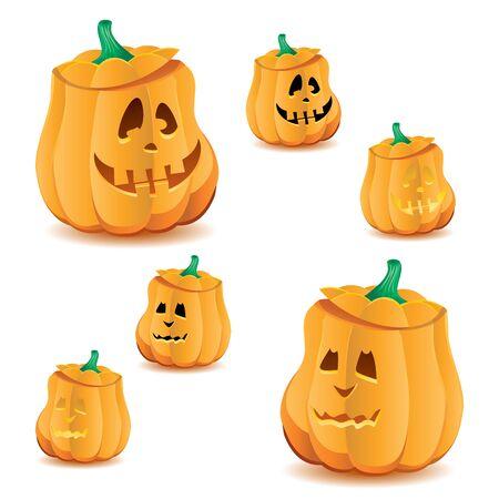 Set of halloween pumpkins with variations of illumination, Jack OLantern, vector illustration. Part 19, more in my portfolio