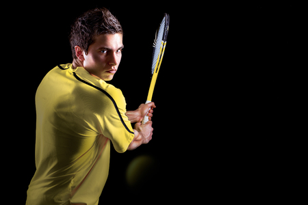 male tennis players: Tennis Player Backhand Portrait