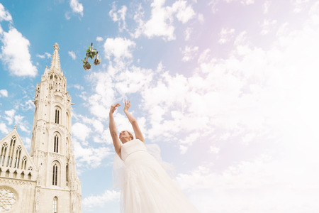 to toss: Bouquet Toss | Destination Wedding Budapest Stock Photo