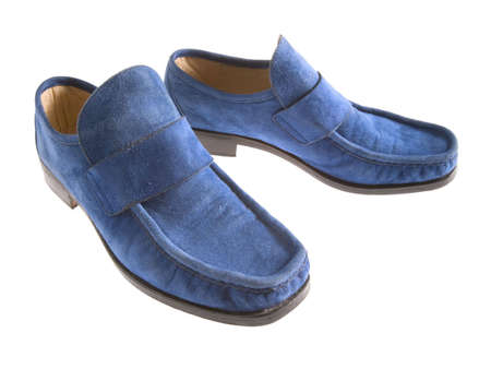 A pair of blue, suede shoes