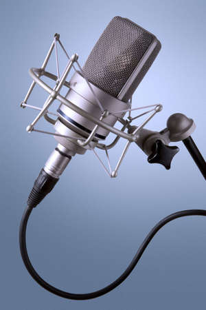Recording studio microphone with large diaphragm capsule and shock mount